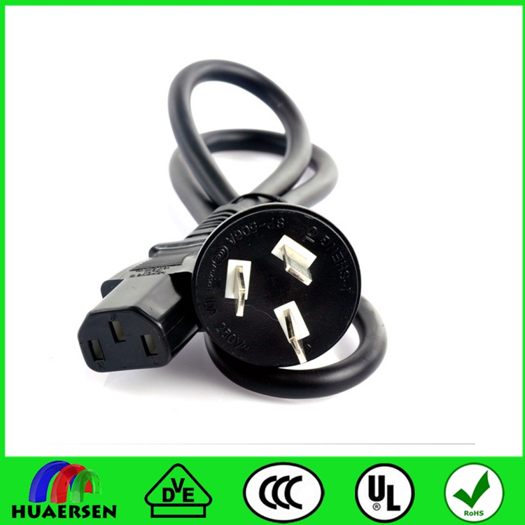 Standard 3 prong to IEC 60320 C5 laptop power cord plug