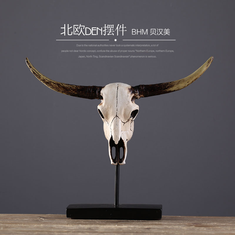 Nordic ox head sculpture resin animal head <strong>crafts</strong> for home decor