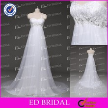Simple New Arrival Pure White Sweetheart Lace Fabrics Sequins Beach Casual Wedding Dresses Patterns