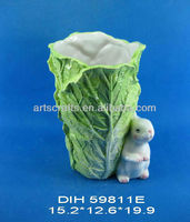 Vegetable shape ceramic vase with Easter bunny