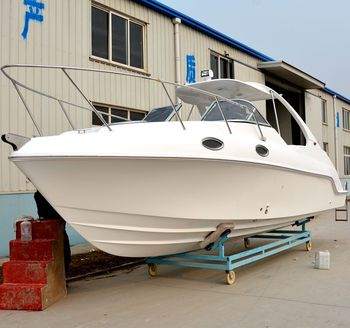 WATERWISH boat QD27 CABIN Fibreglass Speed Factory Boat With Outboard Engine