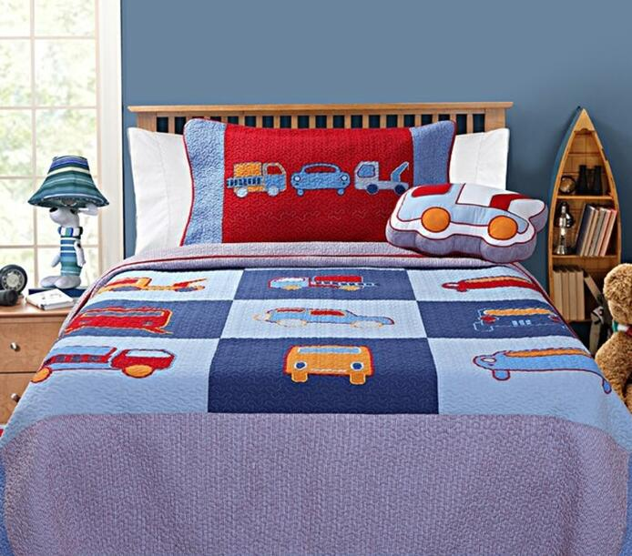 Cotton Twin Hand Made Applique Truck Bed Cover For Boy