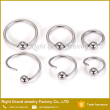 316L Surgical Steel 20g Annealed Captive Ring with Fixed Ball Style BCR Circular Steel Nose Hoop