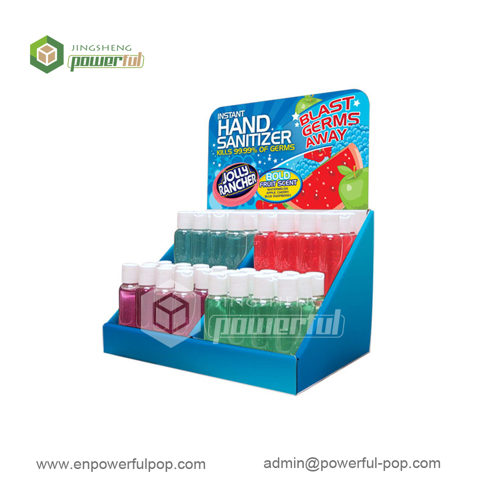 hand sanitizer bottles tabletop cardboard counter display stand
