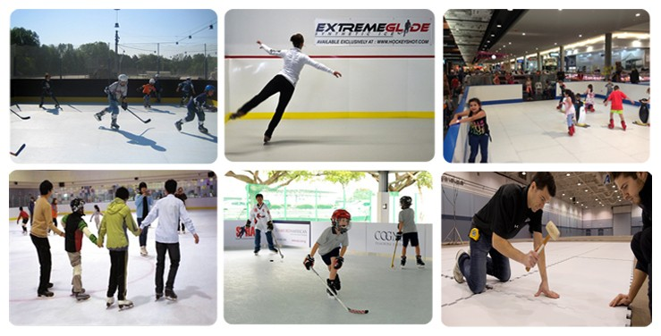 Wear resistance artificial ice hockey ice skating rink equipment