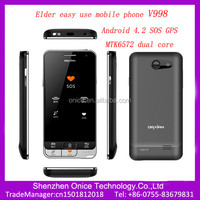 4 inch smart senior phone V998 android 4.2 MTK6572 dual core GPS SOS elder easy use mobile phone