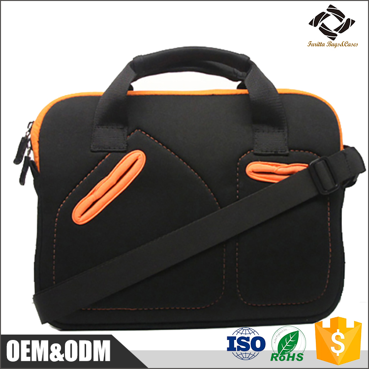Fashion design good quality custom 11.6'' 13.3'' inch neoprene laptop sleeve bag with handle and 2 front pockets