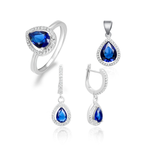 POLIVA Luxury Wedding Jewelry 925 Sterling Silver Blue Gemstone Cz Waterdrop Necklace Pendant and Earring Set