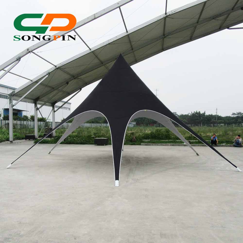 10m factory direct sales black outdoor star shape shelter tents