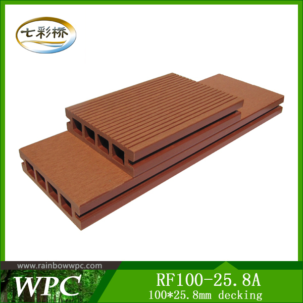 Yongxin Water Resistance WPC for Outdoor Flooring 100*25.8 mm hole decking