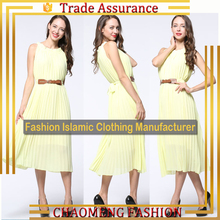 9033#Summer New Model Women dresses Pure Color Pleated Party dresses For girls with Real Sex doll Price 2017