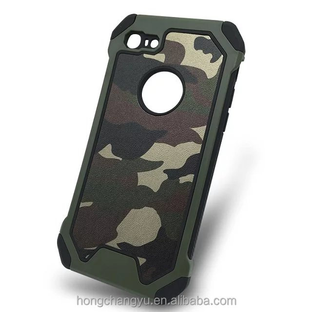 Hot selling silicone PC 3 in 1 army hybrid camouflage mobile phone case for ipone 5 iphone 6 iphone 7