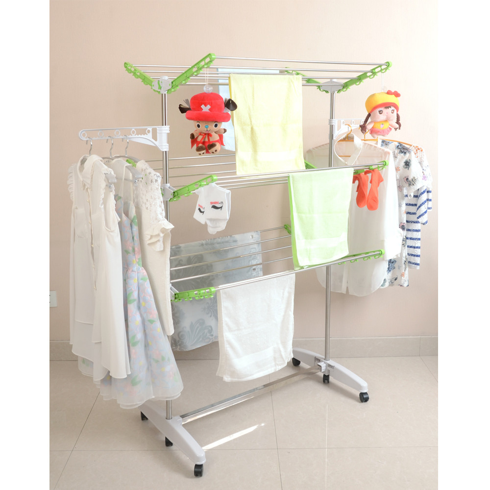 Stainless steel plastic 3 tier vertical balcony clothes drying rack trolley