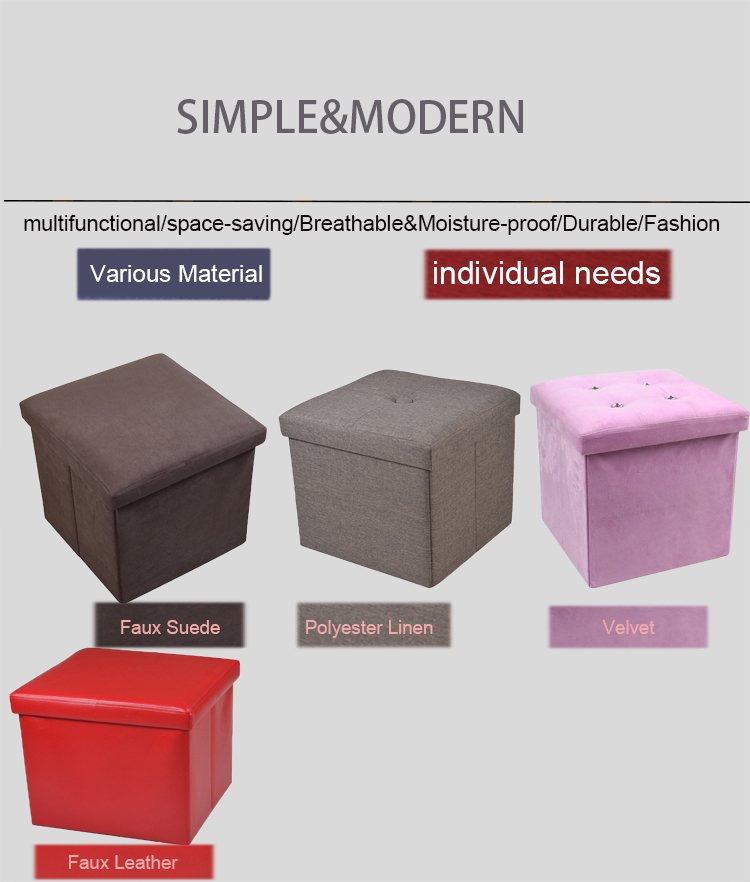 fabric suede folding ottoman with storage