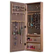 Wood wall mount hanging mirror jewelry organiser cabinet