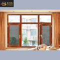 Wooden grain finish aluminum casement window with mosquito fly net