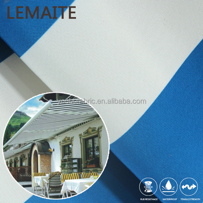 White Blue Stripe Outdoor Awning Waterproof 600D Ripstop Woven Polyester Fabric