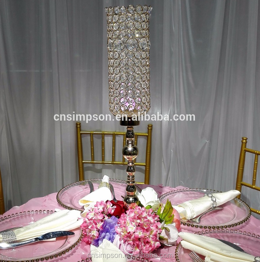 Gold crystal beads hanging candle holder wholesale for wedding decoration