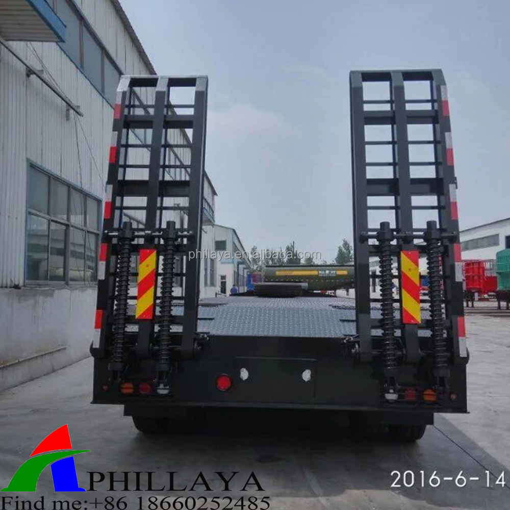 Heavy load good quality 4 <strong>axle</strong> 60 tons low bed semi trailer/lowboy trailers for sale ( <strong>rear</strong> ladder optional)