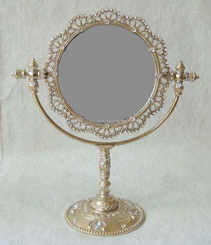 Shiny Crystal Brush Gold Round Tabletop Mirror(P07617tg)