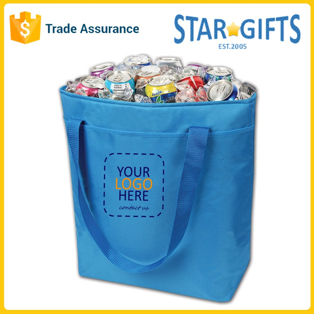 Leakproof Blue Wholesale Large Foldable Polyester Insulated Shopping Frozen Food Bag With Custom Logo