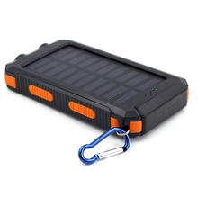 newest fashion solar power bank charger 80000mah 10000mah with led light compass, super quality 10000 mah cell phone power bank