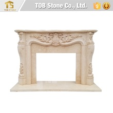 French style Louis XVI beige marble fireplace