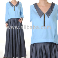 Islamic Abaya Muslim Fashion Clothing Long Sleeves Denim Blouse Skirt