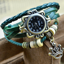 Green Color European Beads Crown Charm Mens Womans Leather Wrap Bracelet Wrist Watch