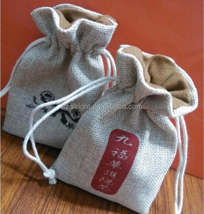 Professional double ply linen drawstring bags, packaging bag cotton jute blend fabric, linen jewelry pouch