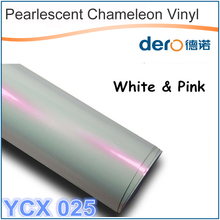 Fast shipping waterproof glossy pearl chameleon pink vinyl sticker car film