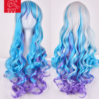 The price for beautiful wig cosplay blue wig sweety girl long hair wigs wholesale