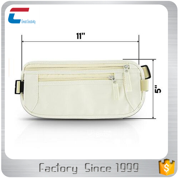 "11""*5"" Running and Cycling White color RFID blocking Waist Pack for protecting your credit cards and personal information"