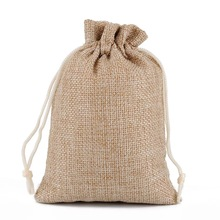 Jute drawstring bag in stock free color to choose custom logo shopping grocery bag
