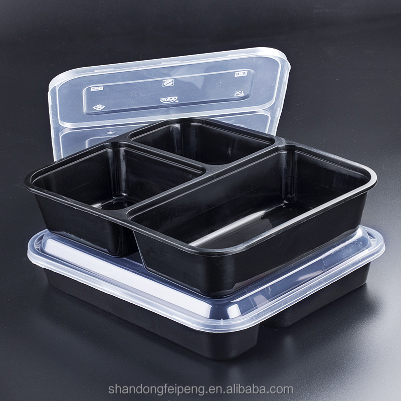 3 compartment disposable plastic fast food one time use food container with lid
