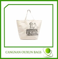 the promotional high quality new design fashional raw cotton canvas shopping bag