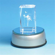 Hot sale custom 3d laser engraving crystal glass block/cube with LED light base for souvenir gift