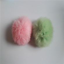 Red plush rex rabbit fur ball keychain / animal pom pon / pom poms fur bag charm
