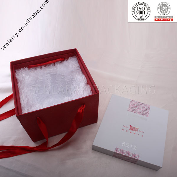 Handmad beautiful ribbon and fluff bag insert high quality printing gift box for jewelry packaging