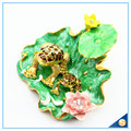 Frogs On The Leaves With Beautiful Lotus Jewelry Box Diamond Decoration Trinket Box SCJ562