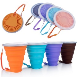 Silicone collapsible travel cup,folding camping cup with lids measuring drinking foldable coffee mug 270ml capacity