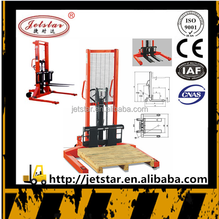 wide leg 4.5 m manual hydraulic hand pallet fork lifter stacker