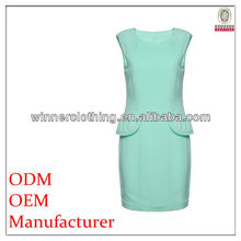 Simple but elegant sleeveless design female sexy office girls dress , blue dress for office lady