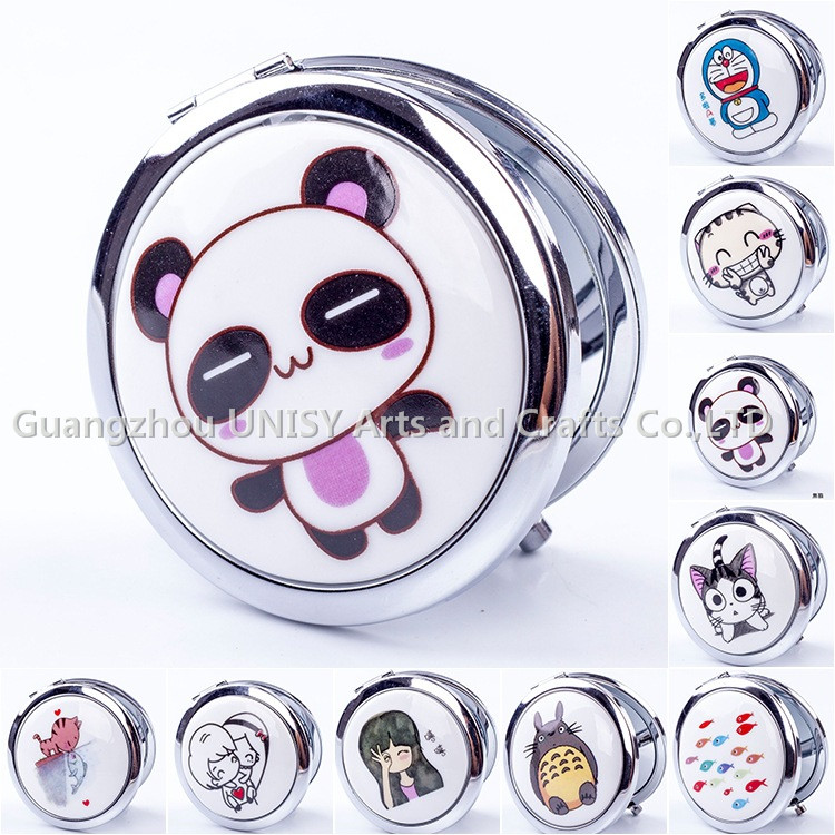 Hot sale OEM Fashional Lady Makeup Use Custom Cartoon design Printed Small Round Pocket Cosmetic Mirror