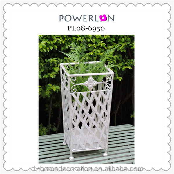 2016 New Design Iron Antique White Square Umbrella Bucket Holder