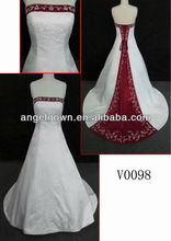 high end quality court train mermaid red satin wedding dress alibaba dresses V0098