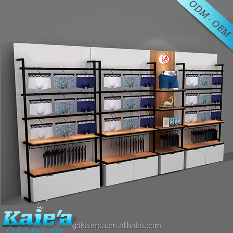 professional design wall mounted clothing display racks for clothes shop