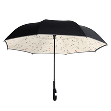 Beautiful unique Rainy Sunny double layers with reflective article reverse umbrella chinese wholesaler print logo for car