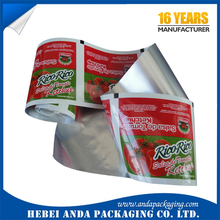 laminated printing packaging film for plastic pasta sauce packaging / tomato pasta sachet 12g wrapper