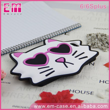 Fashion Lovely 3D Cute Cartoon Cat Soft RoHS Silicone Phone Case for iPhone6 6Plus